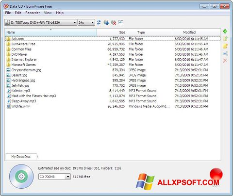 Captura de pantalla BurnAware Free para Windows XP