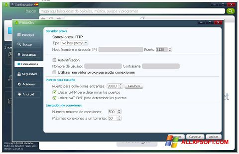 Captura de pantalla MediaGet para Windows XP
