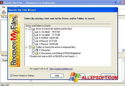 Captura de pantalla Recover My Files para Windows XP