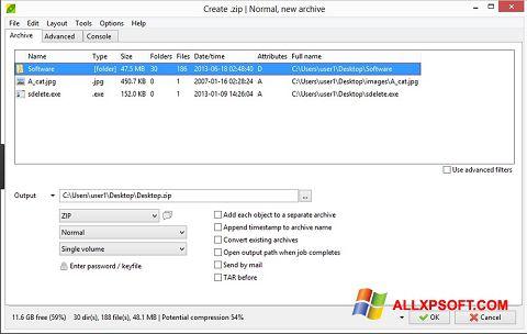 Captura de pantalla PeaZip para Windows XP