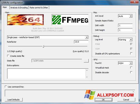 Captura de pantalla x264 Video Codec para Windows XP