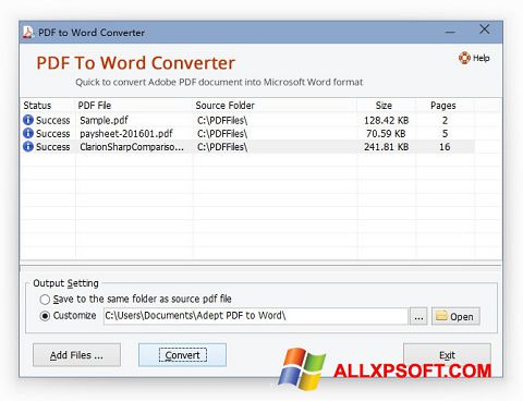 Captura de pantalla PDF to Word Converter para Windows XP