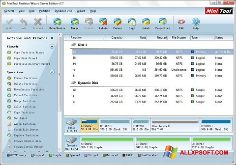 Captura de pantalla MiniTool Partition Wizard para Windows XP