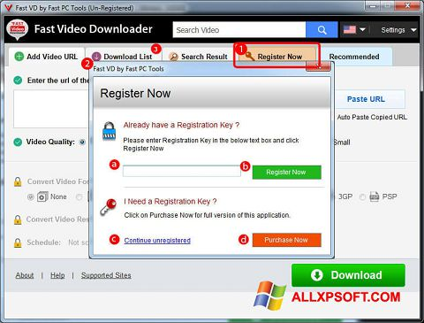 Captura de pantalla Fast Video Downloader para Windows XP