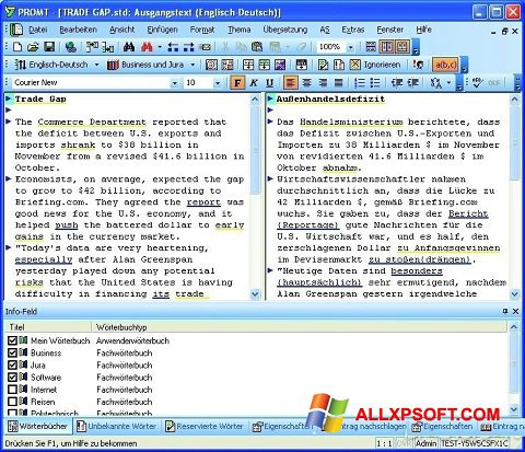 Captura de pantalla PROMT para Windows XP