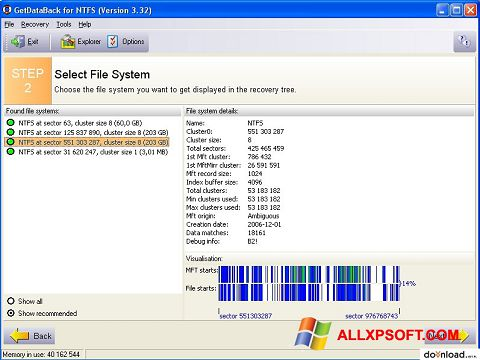 Captura de pantalla GetDataBack para Windows XP