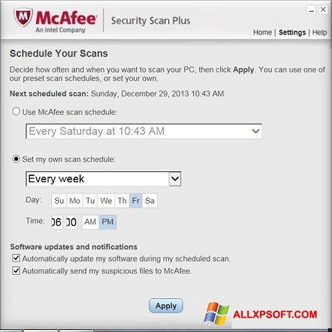 Captura de pantalla McAfee Security Scan Plus para Windows XP