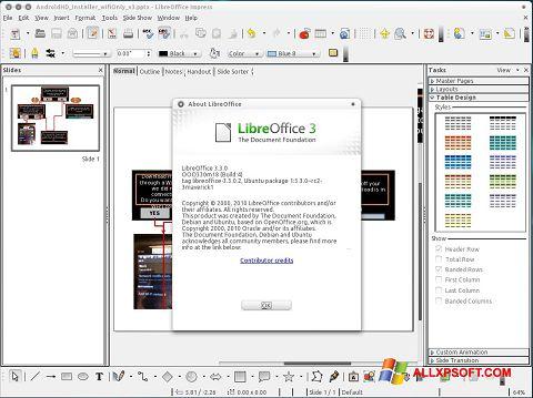 Captura de pantalla LibreOffice para Windows XP
