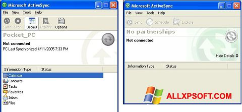 Captura de pantalla Microsoft ActiveSync para Windows XP