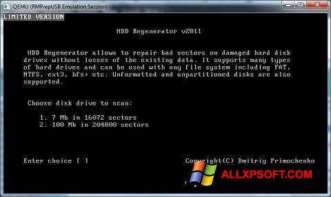 Captura de pantalla HDD Regenerator para Windows XP