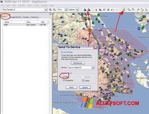 Captura de pantalla MapSource para Windows XP