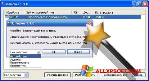 Captura de pantalla Unlocker para Windows XP