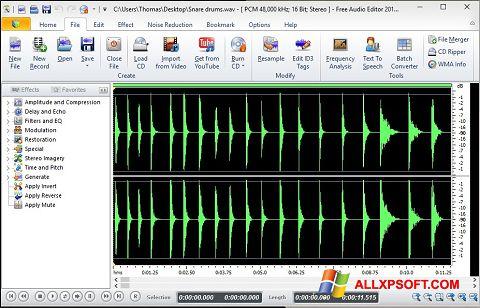 Captura de pantalla Free Audio Editor para Windows XP