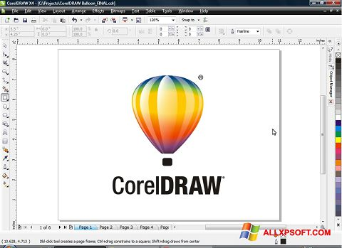Captura de pantalla CorelDRAW para Windows XP