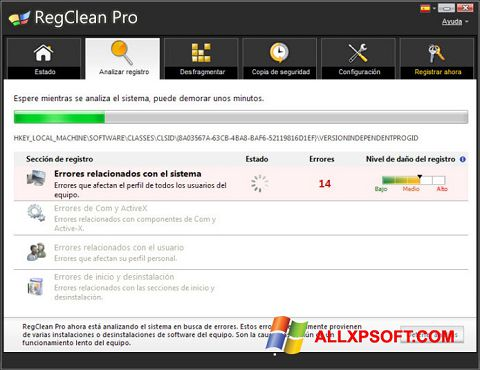 Captura de pantalla RegClean Pro para Windows XP