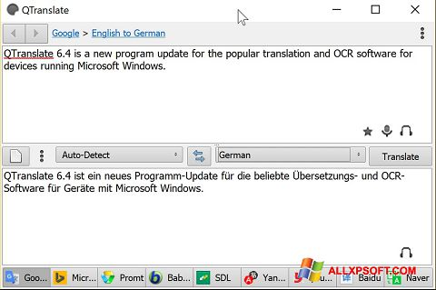 Captura de pantalla QTranslate para Windows XP