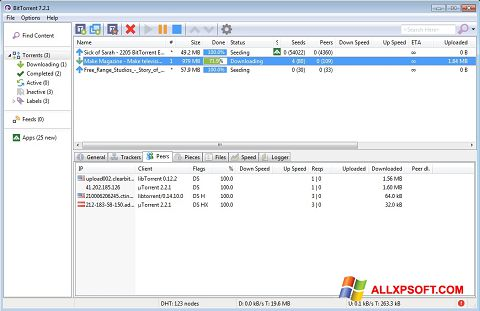 Captura de pantalla BitTorrent para Windows XP