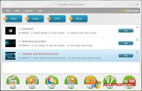 Captura de pantalla Freemake Video Converter para Windows XP