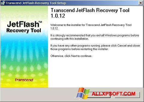 Captura de pantalla JetFlash Recovery Tool para Windows XP