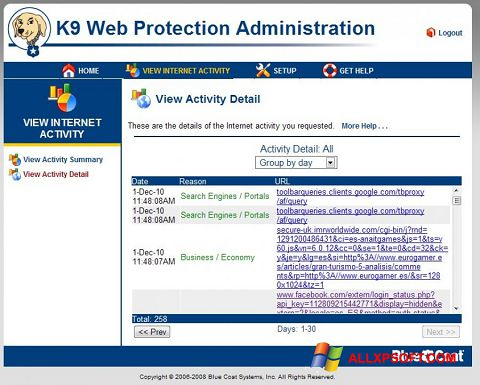 Captura de pantalla K9 Web Protection para Windows XP