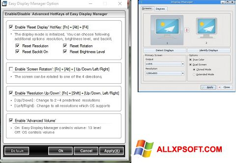 Captura de pantalla Easy Display Manager para Windows XP
