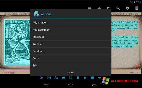 Captura de pantalla AlReader para Windows XP