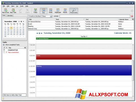 Captura de pantalla Mozilla Sunbird para Windows XP