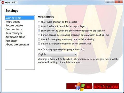 Captura de pantalla Wipe para Windows XP