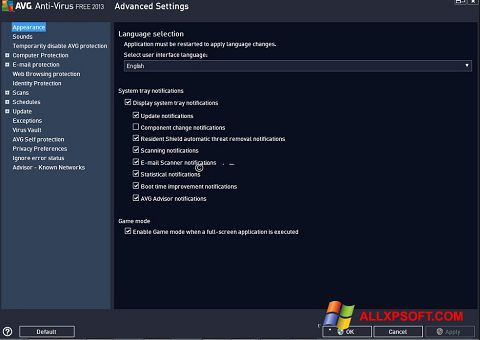 Captura de pantalla AVG para Windows XP
