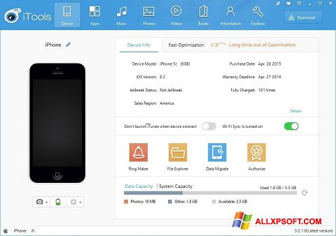 Captura de pantalla iTools para Windows XP