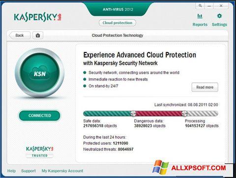 Captura de pantalla Kaspersky para Windows XP