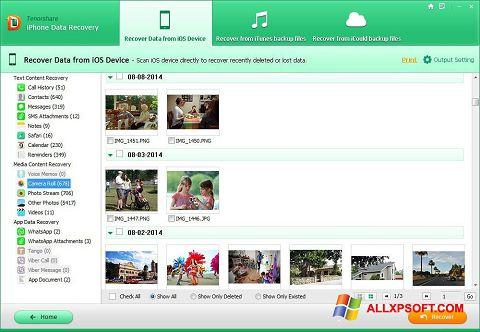 Captura de pantalla iPhone Data Recovery para Windows XP