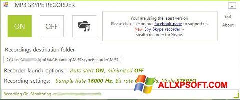 Captura de pantalla MP3 Skype Recorder para Windows XP