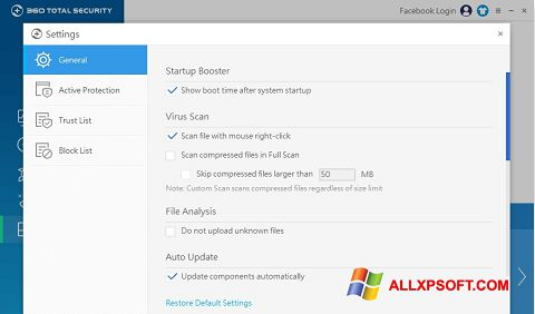 Captura de pantalla 360 Total Security para Windows XP