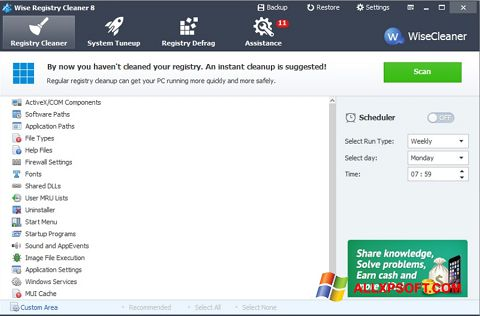 Captura de pantalla Wise Registry Cleaner para Windows XP