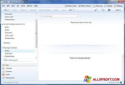 Captura de pantalla Windows Live Mail para Windows XP