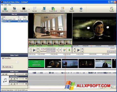 Captura de pantalla VideoPad Video Editor para Windows XP