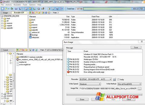 Captura de pantalla UltraISO para Windows XP
