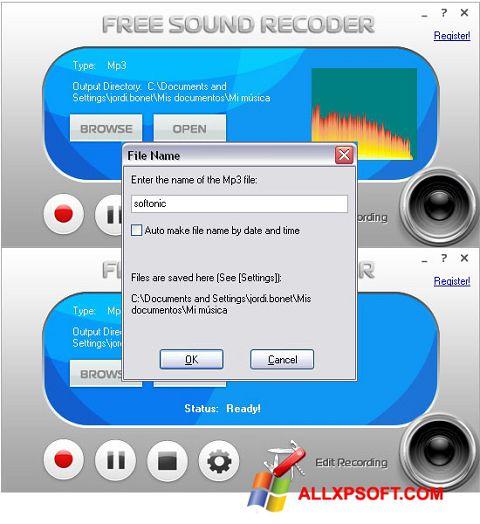 Captura de pantalla Free Sound Recorder para Windows XP