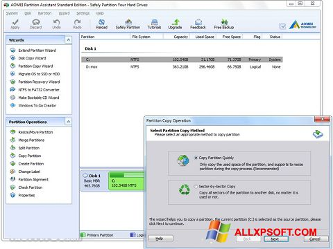 Captura de pantalla AOMEI Partition Assistant para Windows XP
