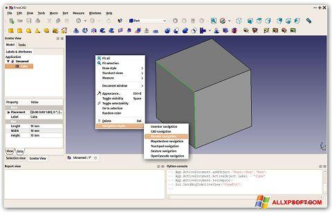 Captura de pantalla FreeCAD para Windows XP