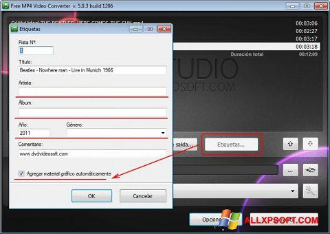 Captura de pantalla Free MP4 Video Converter para Windows XP