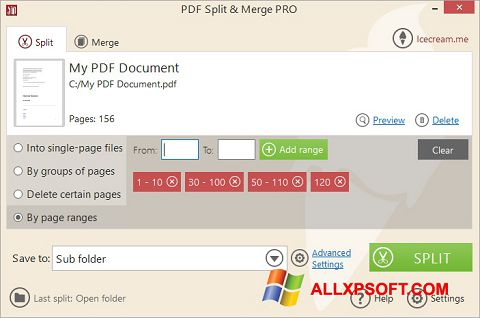 Captura de pantalla PDF Split and Merge para Windows XP