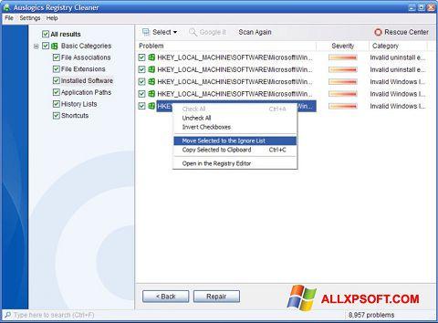 Captura de pantalla Auslogics Registry Cleaner para Windows XP