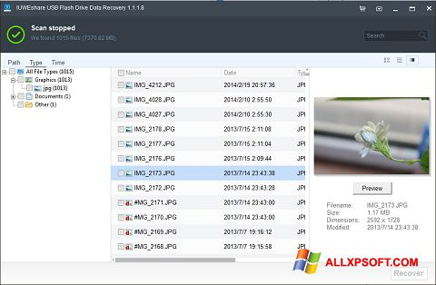 Captura de pantalla USB Flash Drive Recovery para Windows XP