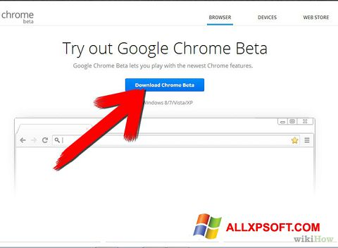 Captura de pantalla Google Chrome Beta para Windows XP