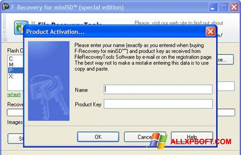 Captura de pantalla F-Recovery SD para Windows XP