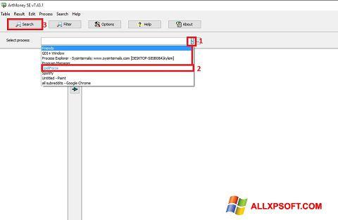 Captura de pantalla ArtMoney Pro para Windows XP