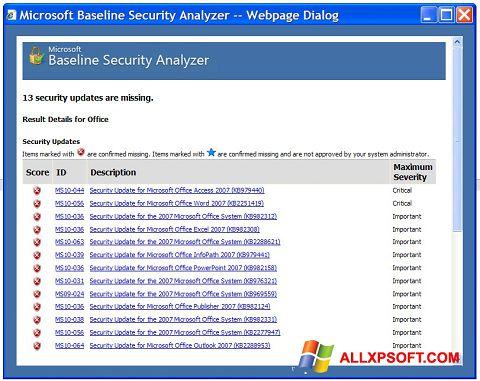 Captura de pantalla Microsoft Baseline Security Analyzer para Windows XP