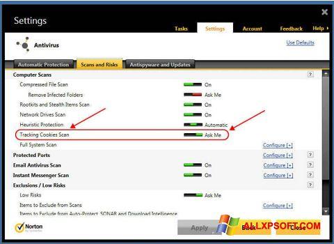Captura de pantalla Norton para Windows XP